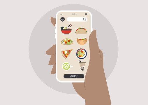 Food delivery mobile app, a choice of ramen, tacos, avocado toast, croissant sandwich, pizza, sunny side up, matcha or boba tea