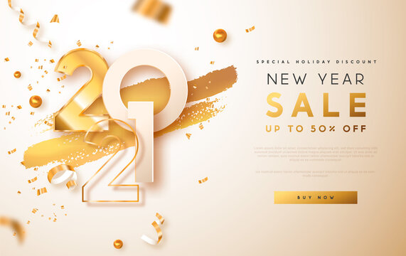 New Year sale 2021 gold discount web template