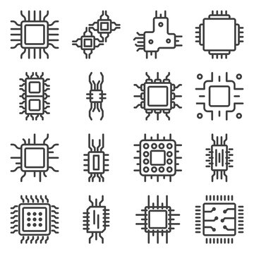 Processor microcircuit icons set. A simple line drawing of chips, circuits, and processors in an electronic device. Isolated vector on white background.
