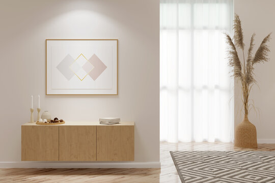 Interior of a light room with a horizontal poster above a wooden cabinet with decor, pampas grass in a wicker vase near the window, a carpet on the parquet floor. 3d render