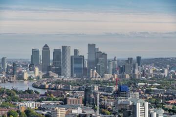 London skyline looking towards Canary Wharf Wall mural