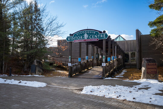 Algonquin Provincial Park Visitor Centre in early winter