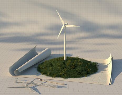 Scale model of wind turbine on drafting paper