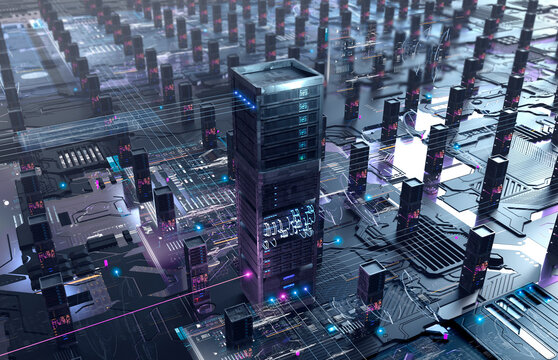 Server networks on circuit board