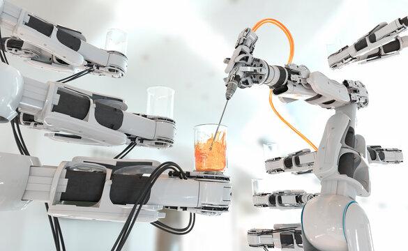 Robotic arm mixing liquid in glass beaker