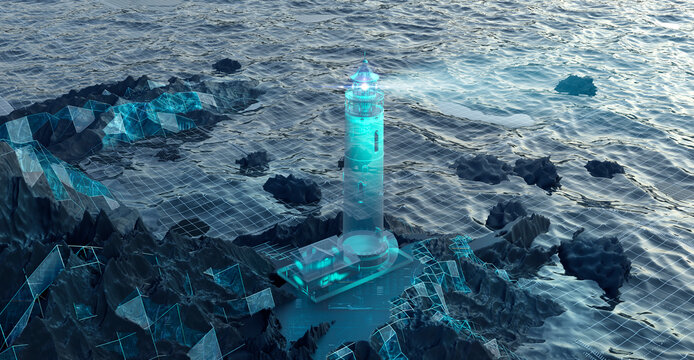 Digital image of lighthouse projected on to rocky shore