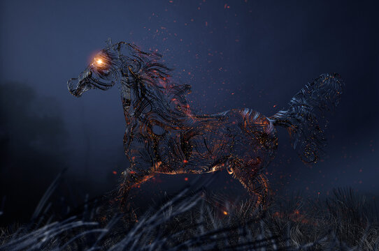 Figure of horse composed of fiber optic cables