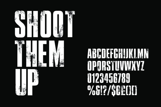 Distressed condensed bold alphabet for post-apocalyptic titles. Vector typography illustration on black background