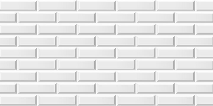 White colored brick ceramic tiles. Modern seamless pattern, brick effect metro ceramic tiles.