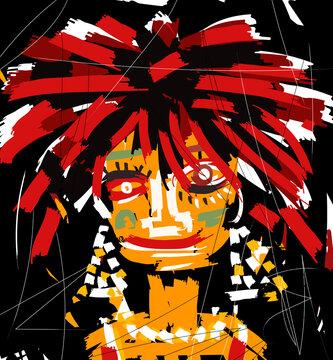 doodle art woman cubist expressionist face portrait