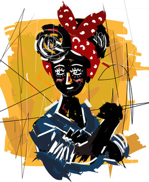 feminist african girl cute doodle painting