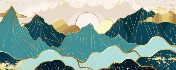Fototapeta Gold mountain wallpaper design with landscape line arts, Golden luxury background design for cover, invitation background, packaging design, wall arts, fabric, and print. Vector illustration. obraz
