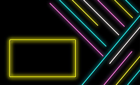 Modern neon background design with geometric shapes.