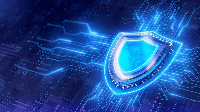 Shield. Protect and Security concept. Digital Shield on abstract technology background. 3d rendering