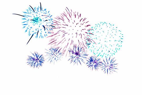 Fireworks illustration art on white background.