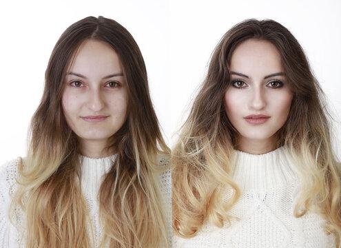 Vorher Nachher Make Up Fotoshooting