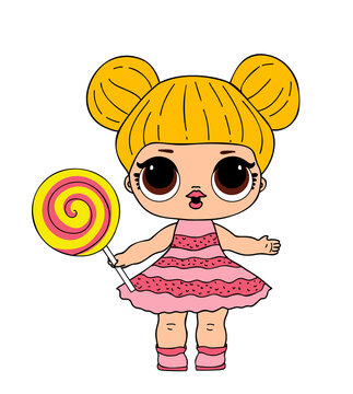 Lol doll with big eyes in pink dress with lolly pop. Vector l.o.l toy picture
