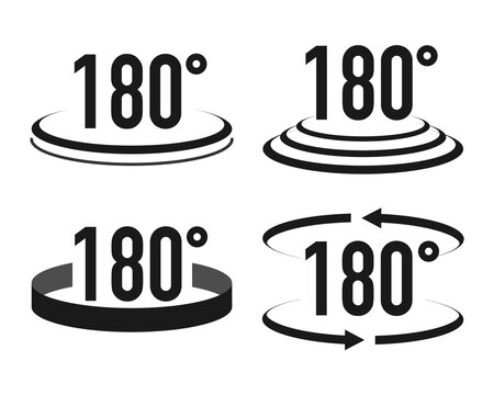 Set of 180 degrees view icons in different style. Vector illustration.