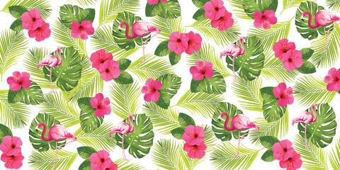 Tropikalny pattern, flamingi, palmy i kwiaty na kolorowym tle.