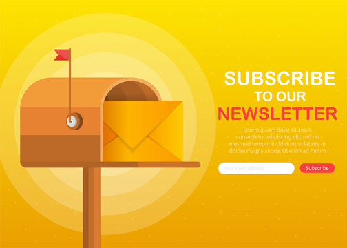 Mailbox with a letter inside in a flat style on a yellow background. Subscribe to our newsletter. Vector illustration.