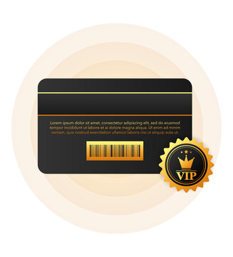 VIP discount black card for buying on white background. Vector illustration.