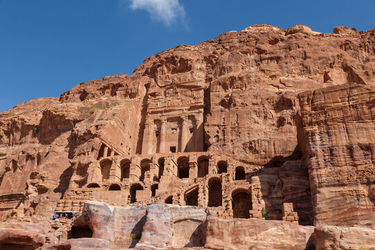 View of the tomb with urn, one of the 5 so-called Royal tombs in Petra. Jordan