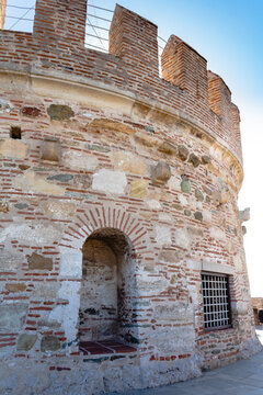 Detail of the white tower at Thessaloniki city in Greece