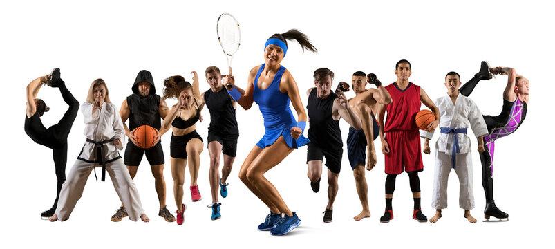 Sport collage. Tennis player, soccer, figure skating, taekwon-do, karate, MMA, basketbal