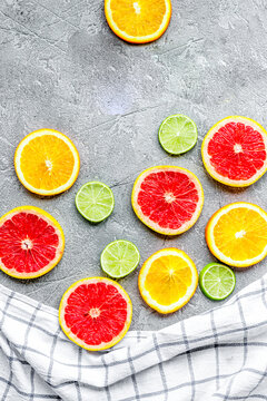 Orange icecream with fruits on table background top view