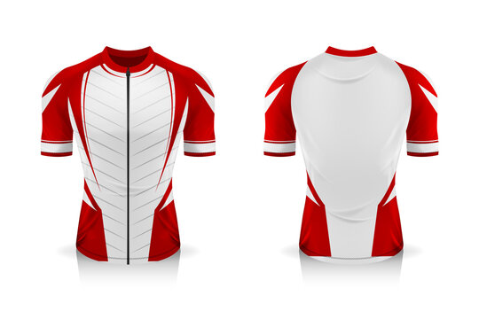 Specification Cycling Jersey template. mock up Sport T Shirt round neck uniform for bicycle apparel . Vector Illustration design , Separate work layers .
