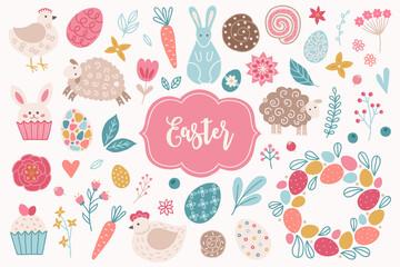 Easter design elements - hen, rabbit, carrot, cinnamon snail, flower, egg