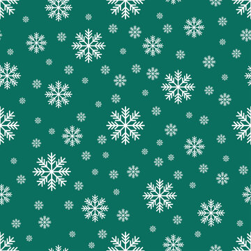The seamless pattern with the white snowflakes on the green background. The save with the Clipping Mask.