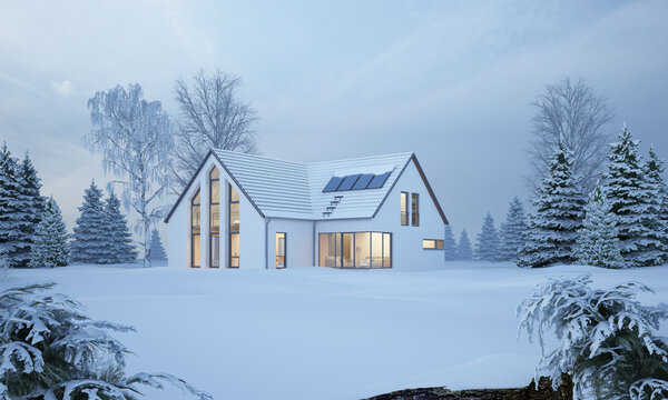 Modernes Haus in Winterlandschaft