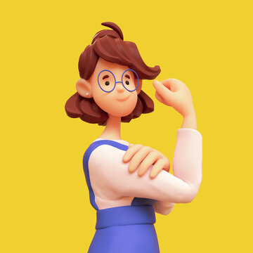 Portrait of smiling brunette girl in glasses wearing blue apron, white t-shirt posing making strong gesture. We Can Do It. Casual cute stylized woman. Minimal art style. 3d render on yellow backdrop
