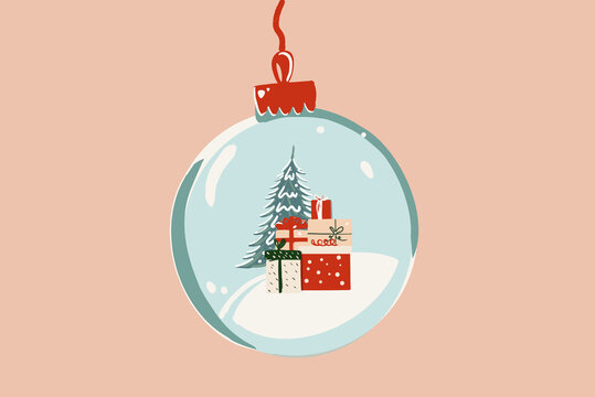 Vector illustration of a Christmas ball with gifts and a Christmas tree on the background