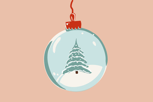 Vector illustration of a Christmas ball with Christmas tree on the background