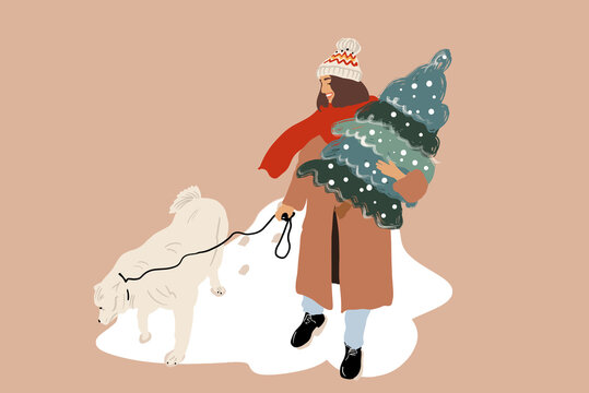 Woman walking with a dog and carrying Christmas tree outdooors, preparing for the New Year holidays. Vector illustration in flat cartoon style