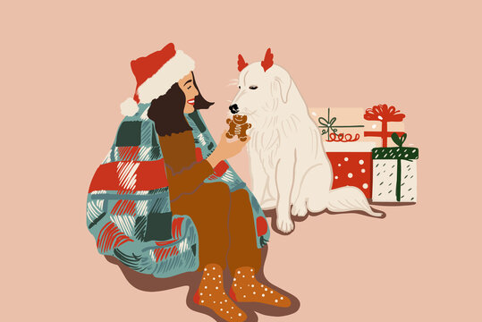 Christmas festive illustration of a woman celebrating with her dog New Year holidays
