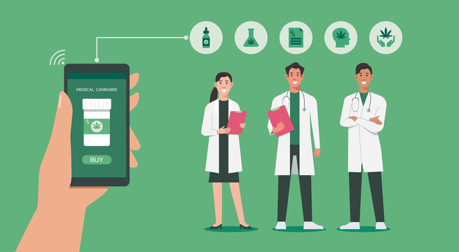 human hand holding smartphone using app for purchase CBD medicine online with doctor and nurse standing together, vector flat illustration