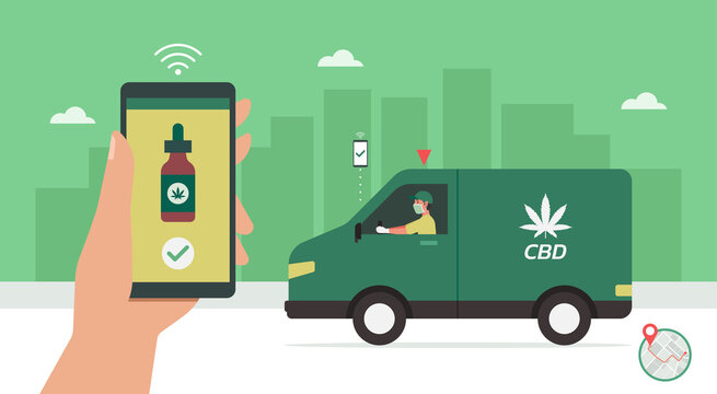 CBD delivery concept, delivery man driving van on the way to customer home, human hand using smartphone with mobile app order cannabis online, smart logistic, vector flat illustration
