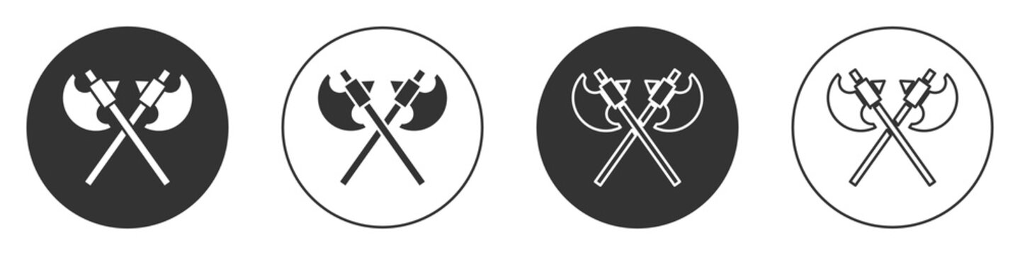 Black Crossed medieval axes icon isolated on white background. Battle axe, executioner axe. Medieval weapon. Circle button. Vector.