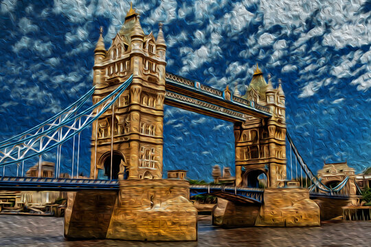 Tower Bridge perspective, a combined bascule and suspension bridge in London. Capital of England and the United Kingdom, is also one of the most important cities of world. Oil paint filter.