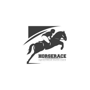 Equestrian horse race logo emblem