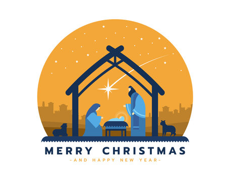 Merry christmas - the birth of jesus banner with Nightly christmas scenery mary and joseph in a manger with baby Jesus in circle vector design
