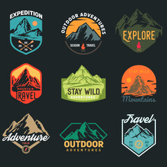 Fototapeta Set templates of outdoor travel, adventures with mountain different forms for badge, logo, patches or emblems in retro vintage style. Collection design concepts for tourism. Vector illustration.