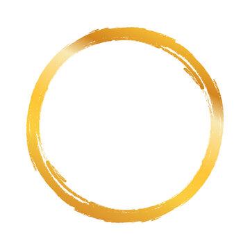 gold circle frame, hand-drawn golden circle, brush ornament.