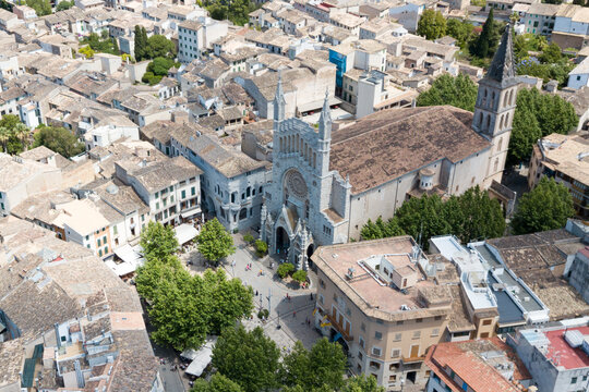 The building of the Catholic Church in Soller in Mallorca