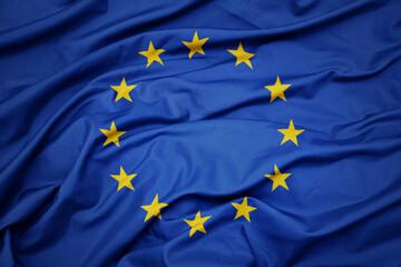 Fototapeta waving colorful national flag of european union. obraz