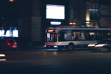 city bus at night
