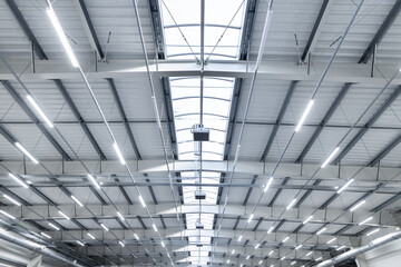 Fototapeta large industrial hall - transport warehouse - modern LED lighting obraz